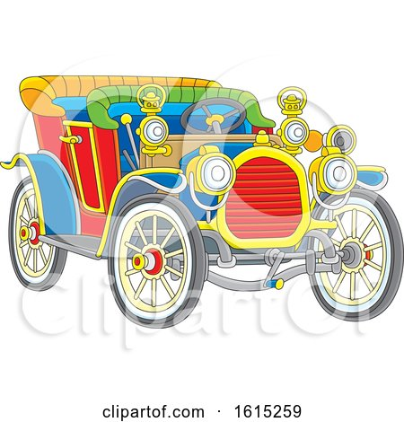 Clipart of a Colorful Antique Convertible Car - Royalty Free Vector Illustration by Alex Bannykh