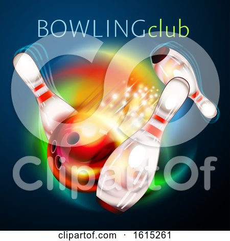 Clipart of a Bowling Ball Crashing Against Pins Under Text - Royalty Free Vector Illustration by Oligo