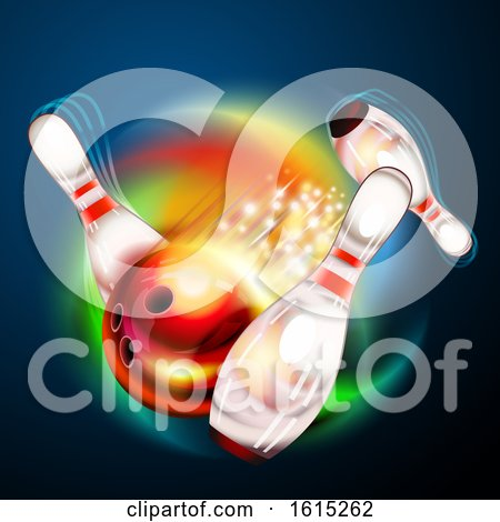Clipart of a Bowling Ball Crashing Against Pins over a Colorful Swirl on Blue - Royalty Free Vector Illustration by Oligo