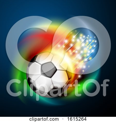 Clipart of a Flying Soccer Ball with Magical Lights and Colorful Swirl on Blue - Royalty Free Vector Illustration by Oligo