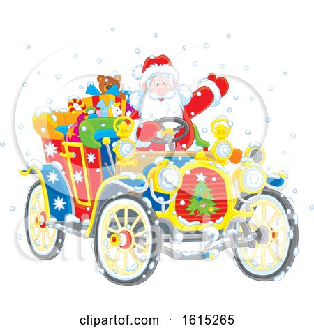 Clipart of Santa Claus Driving a Colorful Antique Convertible Automobile - Royalty Free Vector Illustration by Alex Bannykh