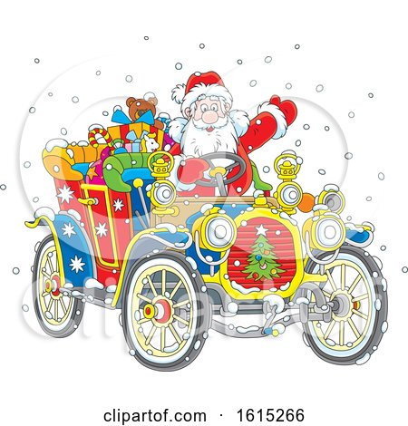 Clipart of Santa Claus Driving a Colorful Antique Convertible Car - Royalty Free Vector Illustration by Alex Bannykh