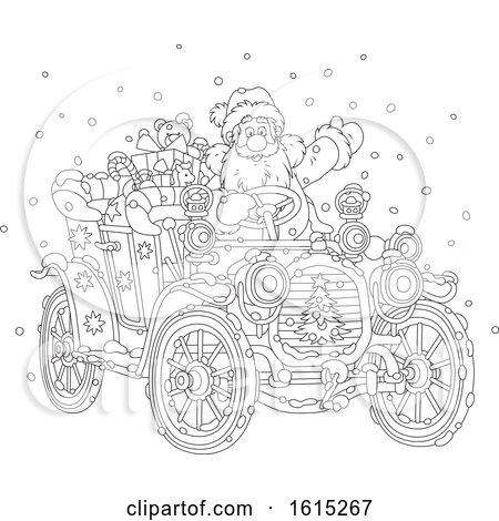 Clipart of a Lineart Santa Claus Driving a Antique Convertible Car - Royalty Free Vector Illustration by Alex Bannykh