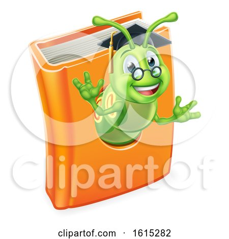 Graduate Bookworm Caterpillar Worm in Book by AtStockIllustration