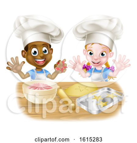 Cartoon Kids Baking in Chef Hats by AtStockIllustration