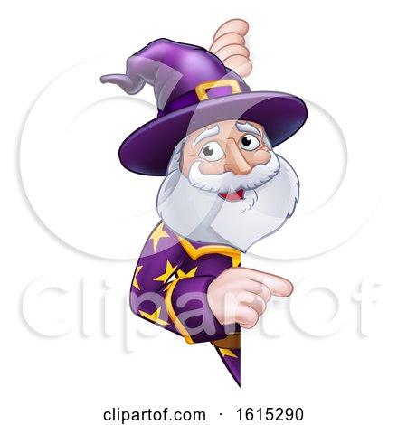 Wizard Cartoon Peeking Round Sign Pointing by AtStockIllustration