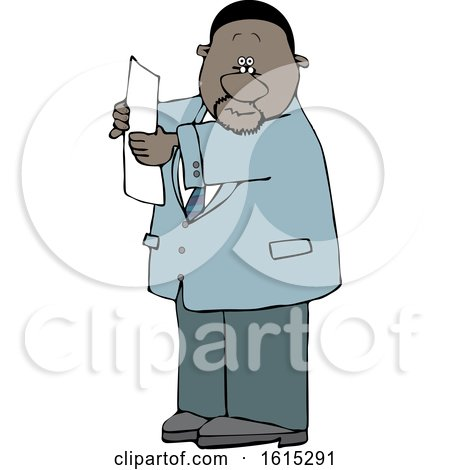 Clipart of a Cartoon Black Business Man Reading a Paper - Royalty Free Vector Illustration by djart