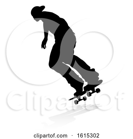 Skater Skateboarder Silhouette, on a white background by AtStockIllustration