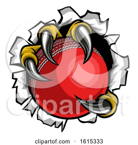 Cricket Ball Eagle Claw Talons Tearing Background by AtStockIllustration