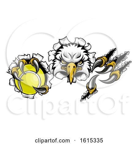 Eagle Tennis Cartoon Mascot Tearing Background by AtStockIllustration