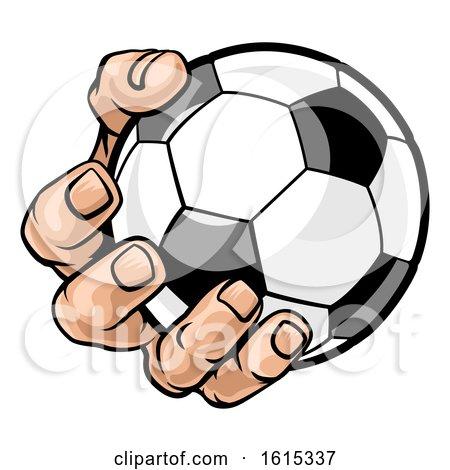 Hand Holding Soccer Ball by AtStockIllustration