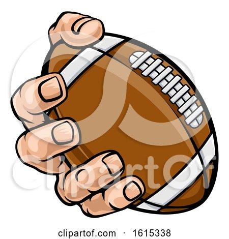 Hand Holding American Football Ball by AtStockIllustration