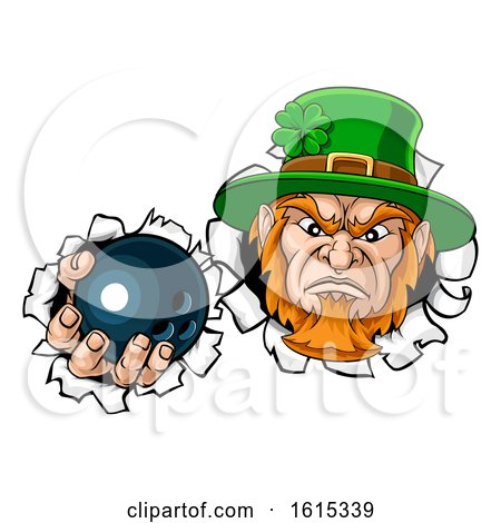 Leprechaun Bowling Mascot Ripping Background by AtStockIllustration