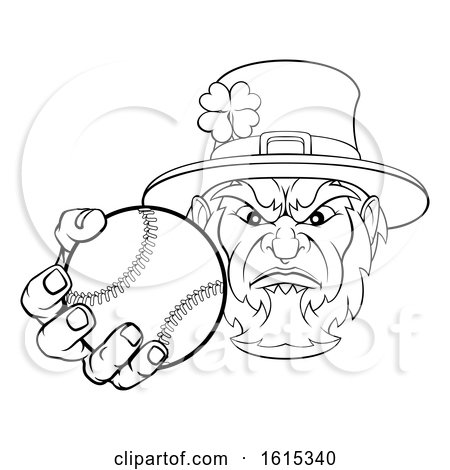 Leprechaun Holding Baseball Ball Sports Mascot by AtStockIllustration