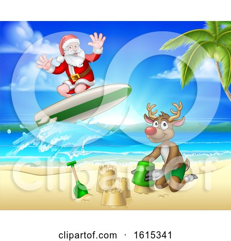 Christmas Santa Claus and Reindeer Beach Scene by AtStockIllustration