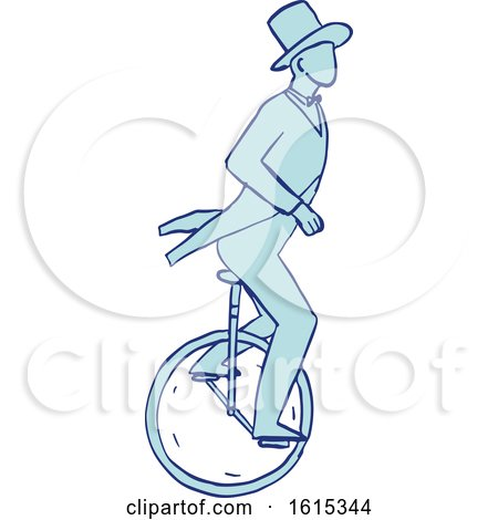 Clipart of a Sketched Circus Performer Riding a Unicycle - Royalty Free Vector Illustration by patrimonio