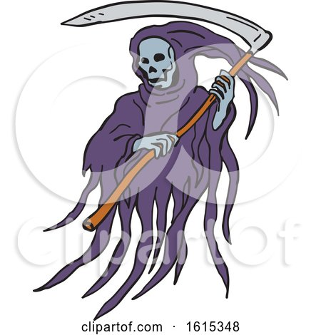 Clipart of a Sketched Grim Reaper or Death with Scythe and Torn Hood - Royalty Free Vector Illustration by patrimonio