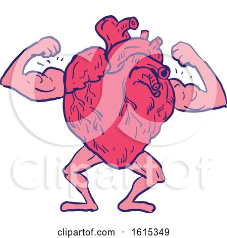 Clipart of a Sketched Healthy Heart Flexing Its Muscles - Royalty Free Vector Illustration by patrimonio