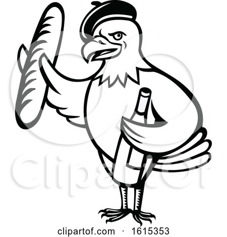 Clipart of a Cartoon Black and White American Bald Eagle Mascot Wearing a French Beret and Holding a Baguette and Bottle of Wine - Royalty Free Vector Illustration by patrimonio