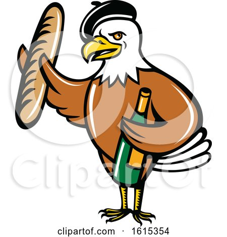 Clipart of a Cartoon American Bald Eagle Mascot Wearing a French Beret and Holding a Baguette and Bottle of Wine - Royalty Free Vector Illustration by patrimonio