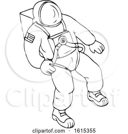 Clipart of a Black and White Floating Astronaut - Royalty Free Vector Illustration by patrimonio
