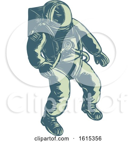 Clipart of a Scratchboard Style Floating Astronaut - Royalty Free Vector Illustration by patrimonio