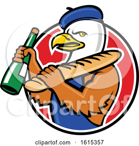 Clipart of a Cartoon American Bald Eagle Mascot Wearing a French Beret and Holding a Baguette and Wine Bottle - Royalty Free Vector Illustration by patrimonio