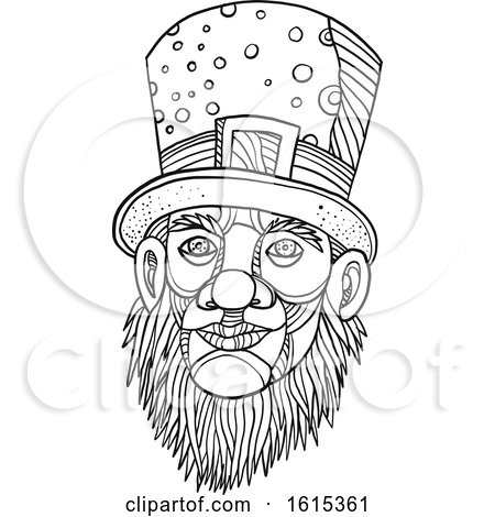 Clipart of a Sketched Black and White Leprechaun with a Top Hat - Royalty Free Vector Illustration by patrimonio