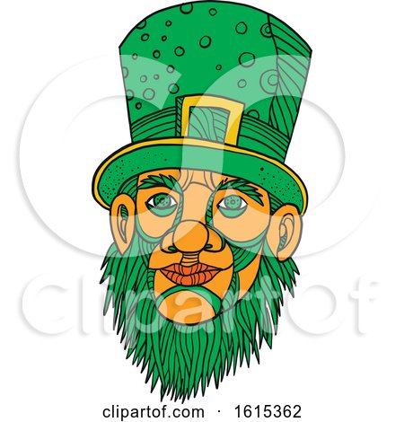 Clipart of a Sketched Leprechaun with a Green Beard and Top Hat - Royalty Free Vector Illustration by patrimonio