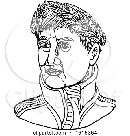 Clipart of Black and White Emperor Napoleon Bonaparte Wearing Laurel Leaf on His Head - Royalty Free Vector Illustration by patrimonio
