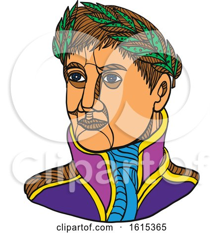 Clipart of Emperor Napoleon Bonaparte Wearing Laurel Leaf on His Head - Royalty Free Vector Illustration by patrimonio