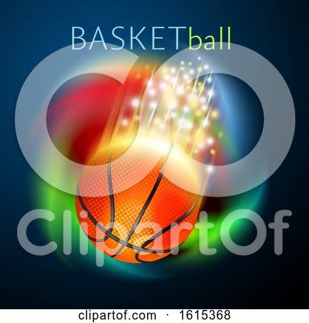 Basketball Sport Ball Flying over Rainbow by Oligo