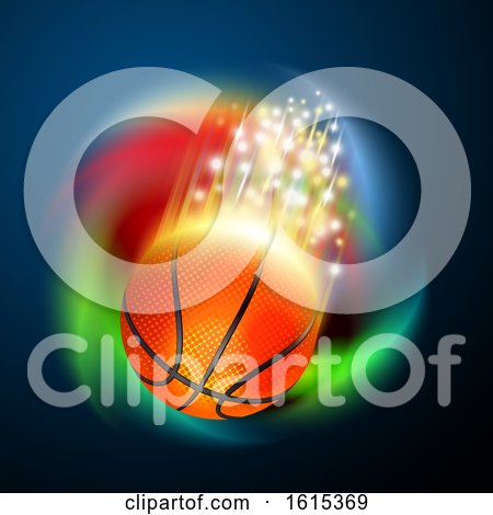 Basketball with Magical Flares and a Colorful Spiral by Oligo
