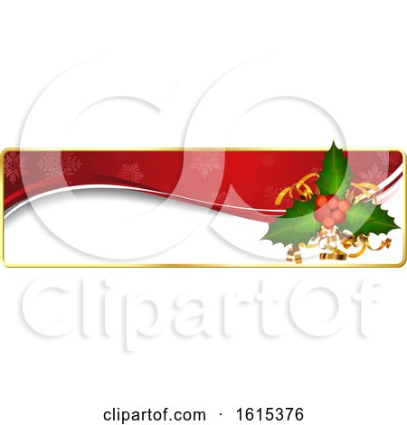 Clipart of a Christmas Website Banner Header with Holly - Royalty Free Vector Illustration by dero
