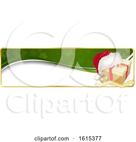 Clipart of a Christmas Website Banner Header with a Gift - Royalty Free Vector Illustration by dero