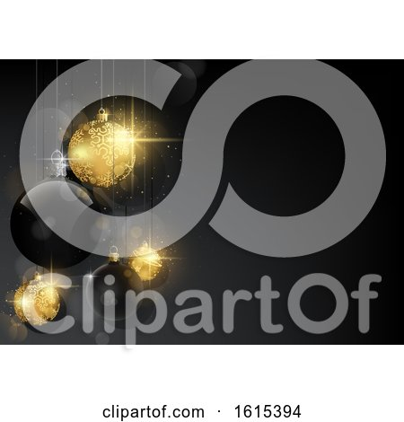 Clipart of a 3d Christmas Background with Gold and Black Baubles - Royalty Free Vector Illustration by dero
