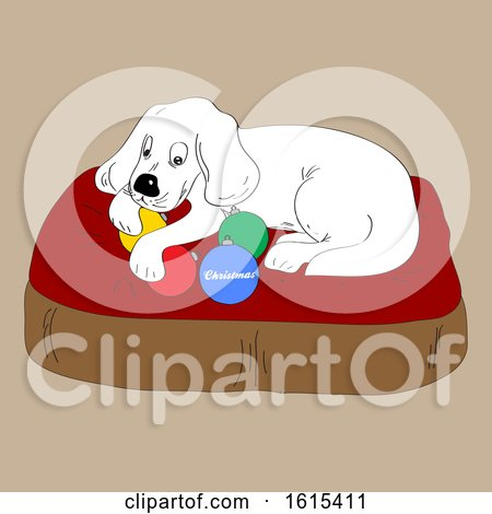Hand Draw Dog and Christmas Baubles by elaineitalia