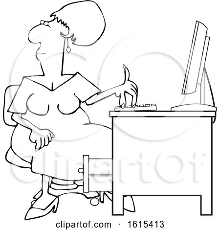 Clipart of a Cartoon Lineart Black Woman Working at an Office Desk - Royalty Free Vector Illustration by djart