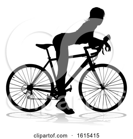 Woman Bike Cyclist Riding Bicycle Silhouette, on a white background by AtStockIllustration