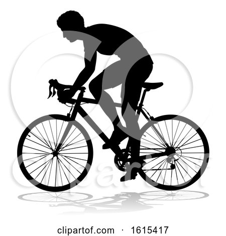 Bike Cyclist Riding Bicycle Silhouette, on a white background by AtStockIllustration