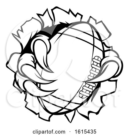 Football Ball Eagle Claw Talons Ripping Background by AtStockIllustration