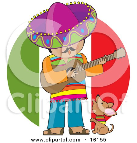 Cute Little Chihuahua Puppy Dog Wearing A Colorful Bandana Around Its Neck, Howling And Sitting At The Feet Of A Male Mexican Musician Who Is Wearing Colorful Clothes And A Sombrero, Singing And Playing A Guitar Clipart Illustration Image by Maria Bell