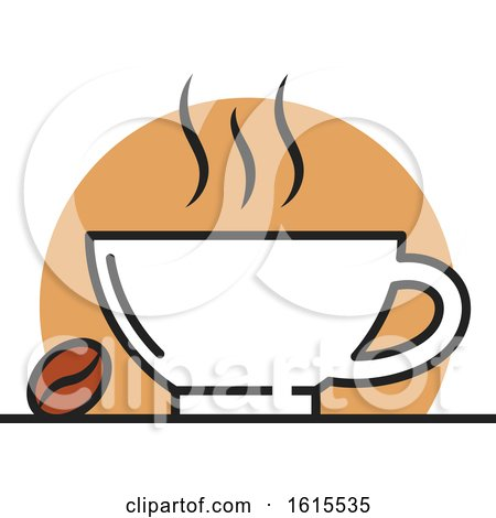 Clipart of a Coffee Cup and Bean - Royalty Free Vector Illustration by Vector Tradition SM