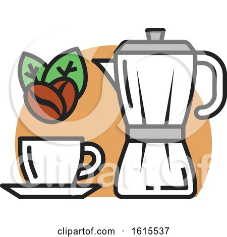 Clipart of a Coffee Cup with Beans - Royalty Free Vector Illustration by Vector Tradition SM