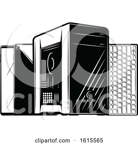 Clipart of a Desktop Computer Tower with Smart Phones and a Keyboard - Royalty Free Vector Illustration by Vector Tradition SM