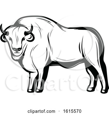 Clipart of a Black and White Bison - Royalty Free Vector Illustration by Vector Tradition SM
