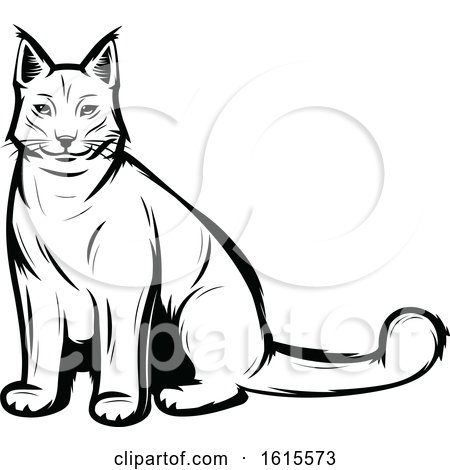 Clipart of a Black and White Lynx - Royalty Free Vector Illustration by Vector Tradition SM