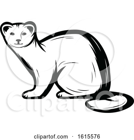 Clipart of a Black and White Weasel - Royalty Free Vector Illustration by Vector Tradition SM