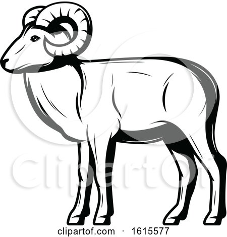 Clipart of a Black and White Ram - Royalty Free Vector Illustration by Vector Tradition SM