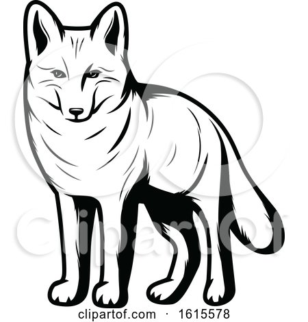 Clipart of a Black and White Coyote - Royalty Free Vector Illustration by Vector Tradition SM